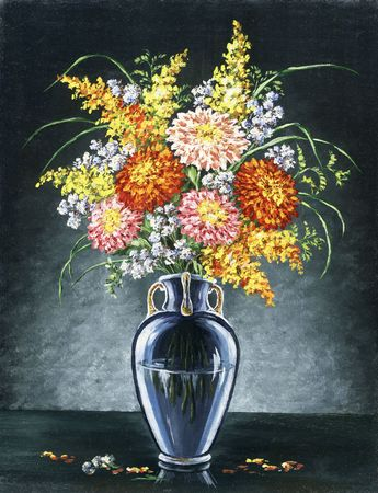 Picture oil paints on a canvas: a bouquet of asters in a glass vase photo