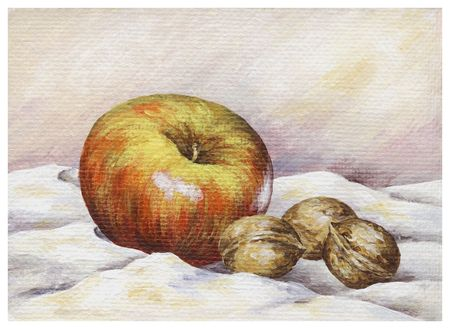 Picture oil paints on a canvas: Apple and walnuts photo