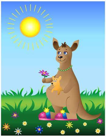 Cheerful mum-kangaroo with the kid photo