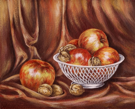 Picture oil paints on a canvas: Apples and nuts on a red background