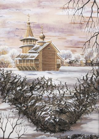 birch bark: Drawing distemper on a birch bark: Chapel from memorial estate Kizhi, Russia Stock Photo