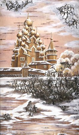 Drawing distemper on a birch bark: Transfiguration church from memorial estate Kizhi, Russia Stock Photo - 6780846
