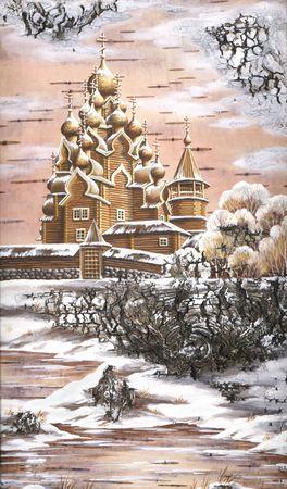 legacy: Drawing distemper on a birch bark: Transfiguration church from memorial estate Kizhi, Russia