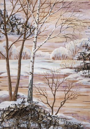 Drawing distemper on a birch bark: Wintry landscape photo
