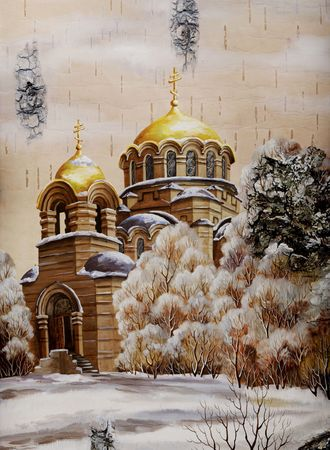Drawing distemper on a birch bark: the Cathedral in honour of sacred prince Alexander Nevskij, Russia, Novosibirsk Stock Photo - 6780863
