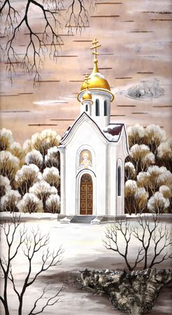 Drawing distemper on a birch bark: Chapel in honour of sacred Nikolay, Russia, Novosibirsk Stock Photo - 6780862