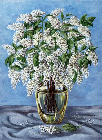 Picture oil paints on a canvas: a bouquet of bird cherry in a glass vase