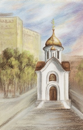 Drawing a pastel on a cardboard: the Chapel in honour of sacred Nikolay, Russia, Novosibirsk Stock Photo - 6964759