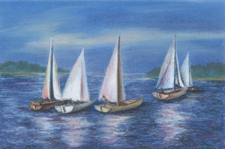 distemper: Drawing distemper on a cardboard: Yachts by the Obsky sea, Russia, Novosibirsk Stock Photo