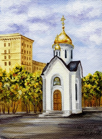 famous place: Picture oil paints on a canvas: Chapel in honour of sacred Nikolay, Russia, Novosibirsk