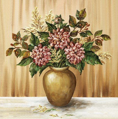 Picture oil paints on a canvas: a bouquet of dahlias in a clay pot