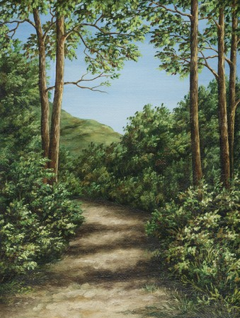 Picture oil paints on a canvas: footpath in mountain wood Stock Photo
