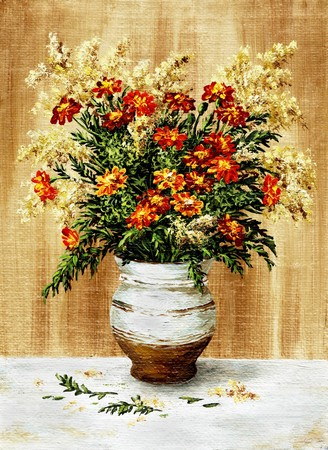 Picture oil paints on a canvas: a bouquet of marigold in a ceramic pot photo