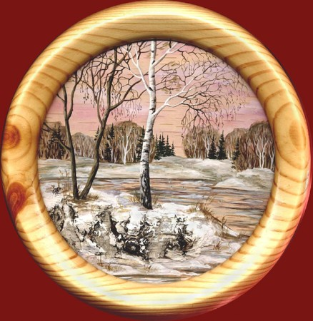 distemper: Drawing distemper on a birch bark: spring landscape in a round wooden frame
