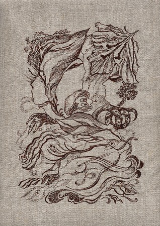 Wood fairy tale, pattern on the ancient Ukrainian homespun rural linen canvas of manual job Stock Photo - 7080723
