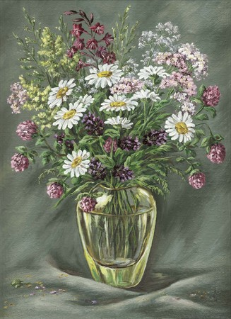 oil paintings: Glass vase with wild flowers