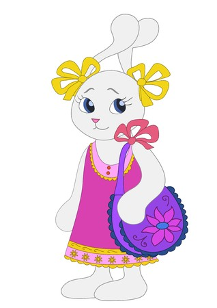 sundress: Hare-girl in a sundress with a ladies handbag on a shoulder Illustration