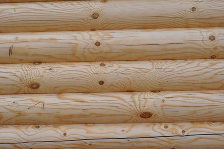 Fragment of a wall of a new wooden log house Stock Photo - 7235729
