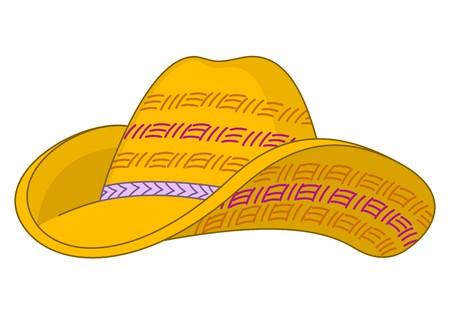 chapeau de paille: Chapeau de paille jaune avec les champs courb�s et le haut doubl�