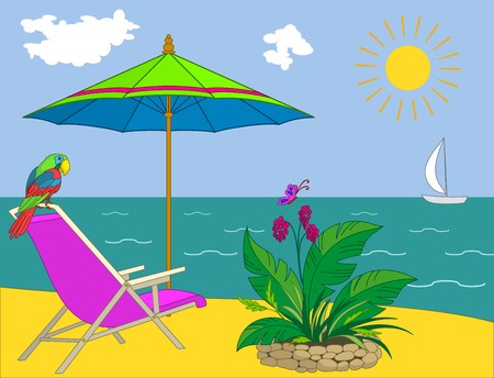 beach butterfly: Resort beach: coast with a chaise lounge, an umbrella, a parrot, a bed and a yacht