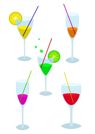 tipple: Set of transparent glasses with many-coloured drinks: red, yellow, orange, green, lilac