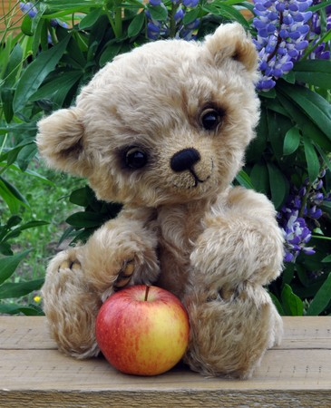 Handmade, the sewed toy: teddy-bear Lucky with an apple among flowers photo