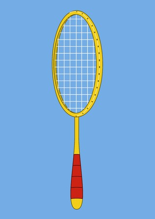 battledore: Isolated element of sporting equipment for playing badminton: wooden racket