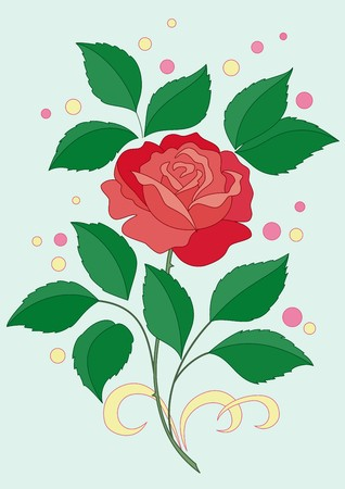 The flower of a rose with green leaves and scarlet petals and confetti Vector