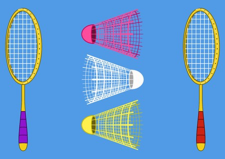 battledore: Isolated objects of sporting equipment for badminton game: two rackets and shuttlecock Illustration