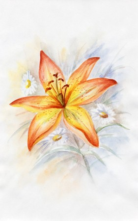 Drawing a water colour on a paper: bouquet with a lily