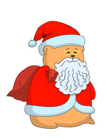 greybeard: Allegro Santa Claus-cuscino in pelliccia rosso cappotto e cappello, in occhiali da vista, con un sacco di regali