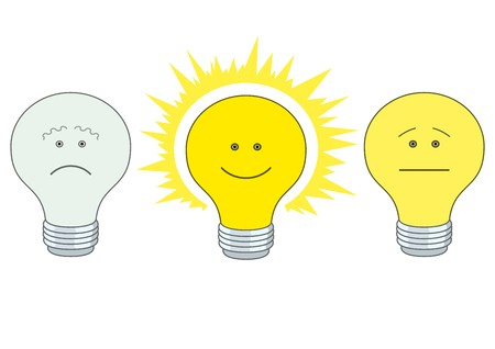 illuminator: Set of smilies in the form of electric bulbs - sad, indifferent and cheerful