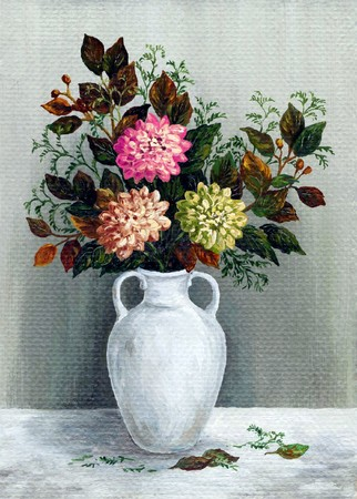 Picture oil paints on a canvas: a bouquet asters in a white jug photo