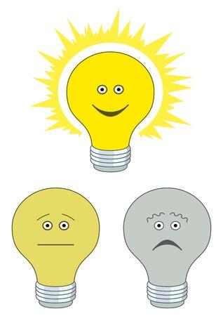 dull: Conjunto de emoticones en forma de bombillas el�ctricas - tristes, indiferentes y alegres