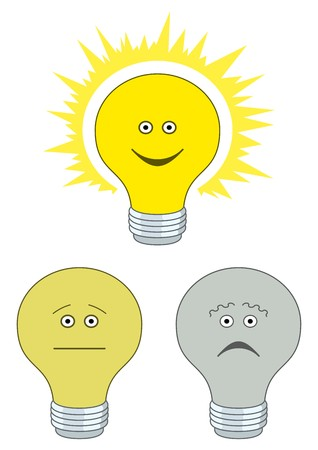 Set of smilies in the form of electric bulbs - sad, indifferent and cheerful Vector