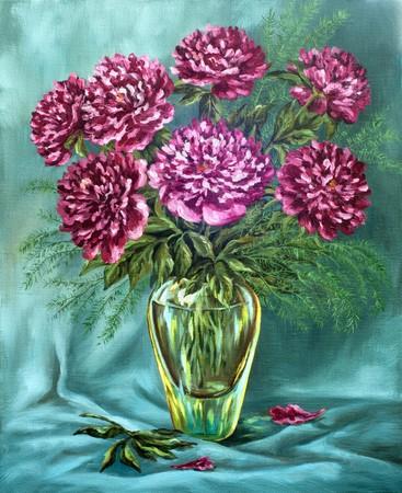 oil paints: Pinturas de aceite en un lienzo de la imagen: un ramo de peon�as en un florero de vidrio