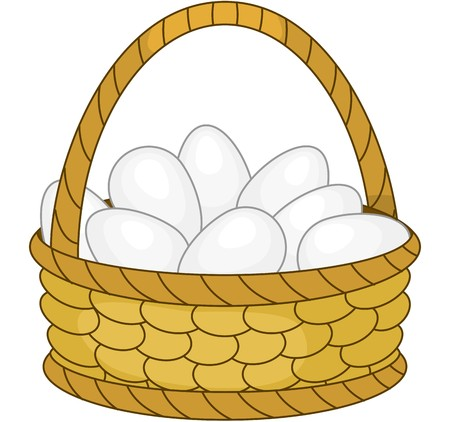 egg box: Basket with white eggs