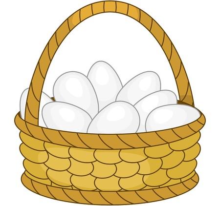 aves de corral: Cesta con huevos blancos