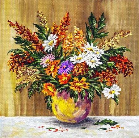 Olieverf op een canvas foto: Boeket veldbloemen in een klei pot