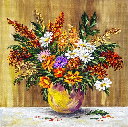 florescence: Picture oil paints on a canvas: bouquet of wild flowers in a clay pot Stock Photo