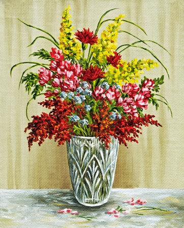 florescence: Picture oil paints on a canvas: a bouquet in a crystal vase