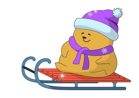 Winter picture: the little teddy-bear goes for a drive on sledge Stock Vector - 7514125