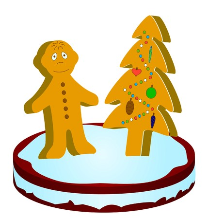 Gingerbread little man under a gingerbread Christmas fur-tree Stock Photo - 7514126