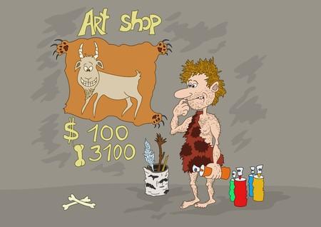 pintura rupestre: Artista prehist�rico prepara su primera ilustraci�n para su examen en un banco de im�genes