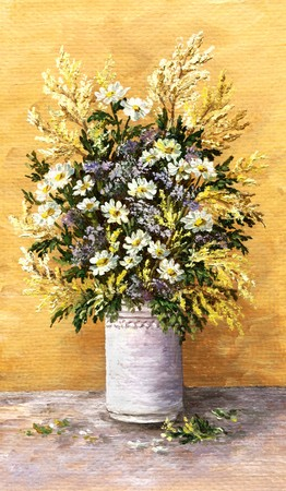 Picture oil paints on a canvas: a bouquet of camomiles in a white glass