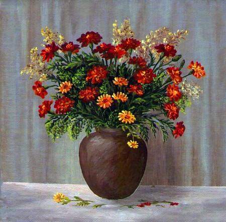 oil paints: Pinturas de aceite en un lienzo de la imagen: un ramo de maravilla en una cazuela de barro  Foto de archivo