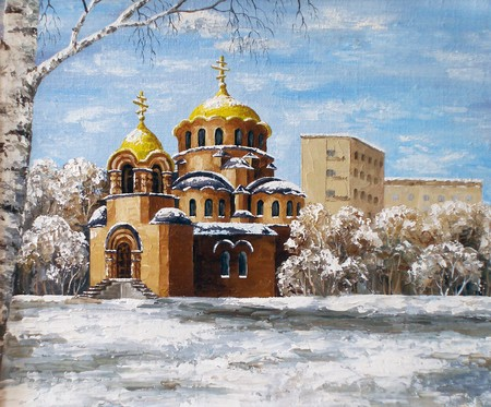 Picture oil paints on a canvas: Cathedral of Alexander Nevskij, Russia, Novosibirsk photo