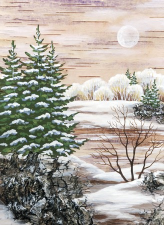 Drawing distemper on a birch bark: the Siberian winter lake photo