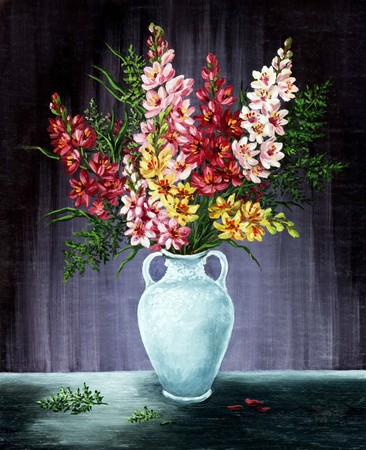 Picture oil paints on a canvas: bouquet of freesia in a white amphora photo