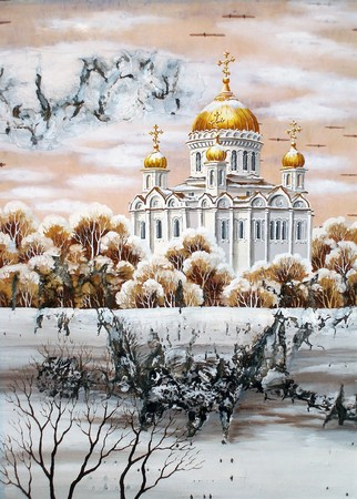distemper: Handmade, drawing distemper on a birch bark: the cathedral of the Christ of the Savior, Russia, Moscow
